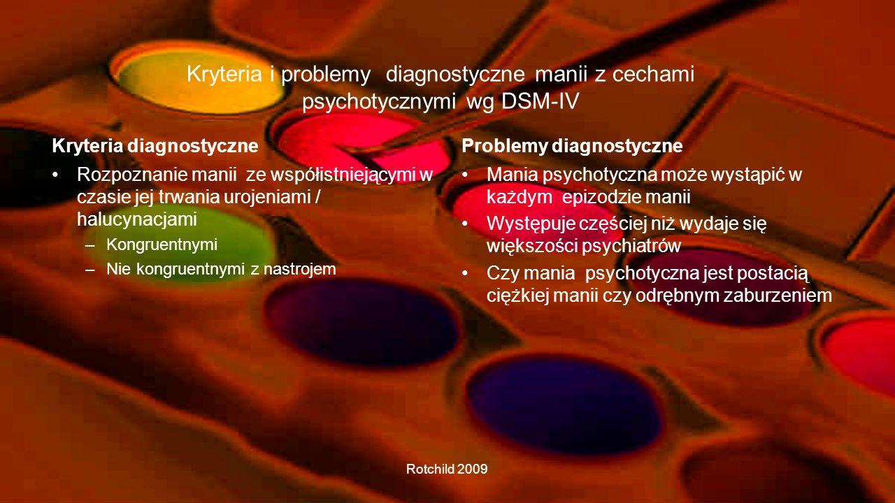 Kryteria i problemy diagnostyczne manii z cechami psychotycznymi wg DSM-IV