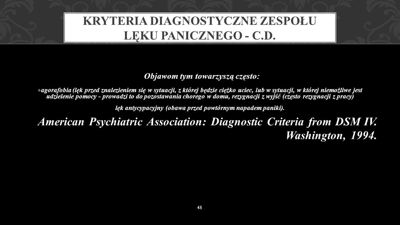 Kryteria diagnostyczne zespołu lęku panicznego - c.d.