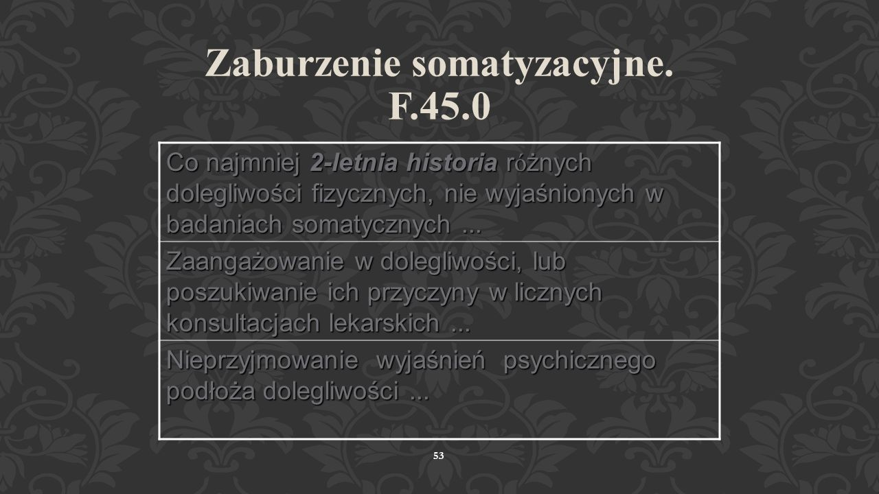 Zaburzenie somatyzacyjne. F.45.0
