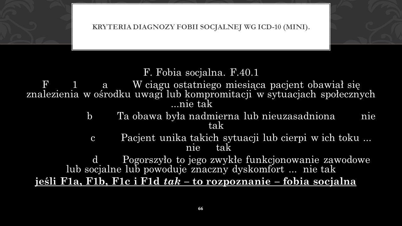 Kryteria diagnozy fobii socjalnej wg ICD-10 (MINI).