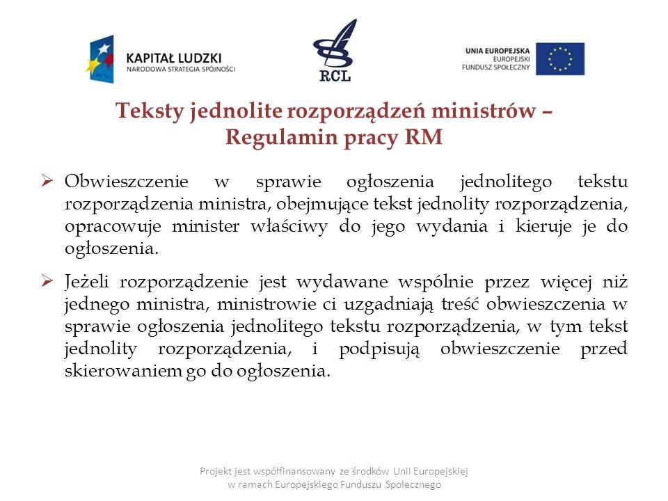 Teksty jednolite rozporządzeń ministrów – Regulamin pracy RM