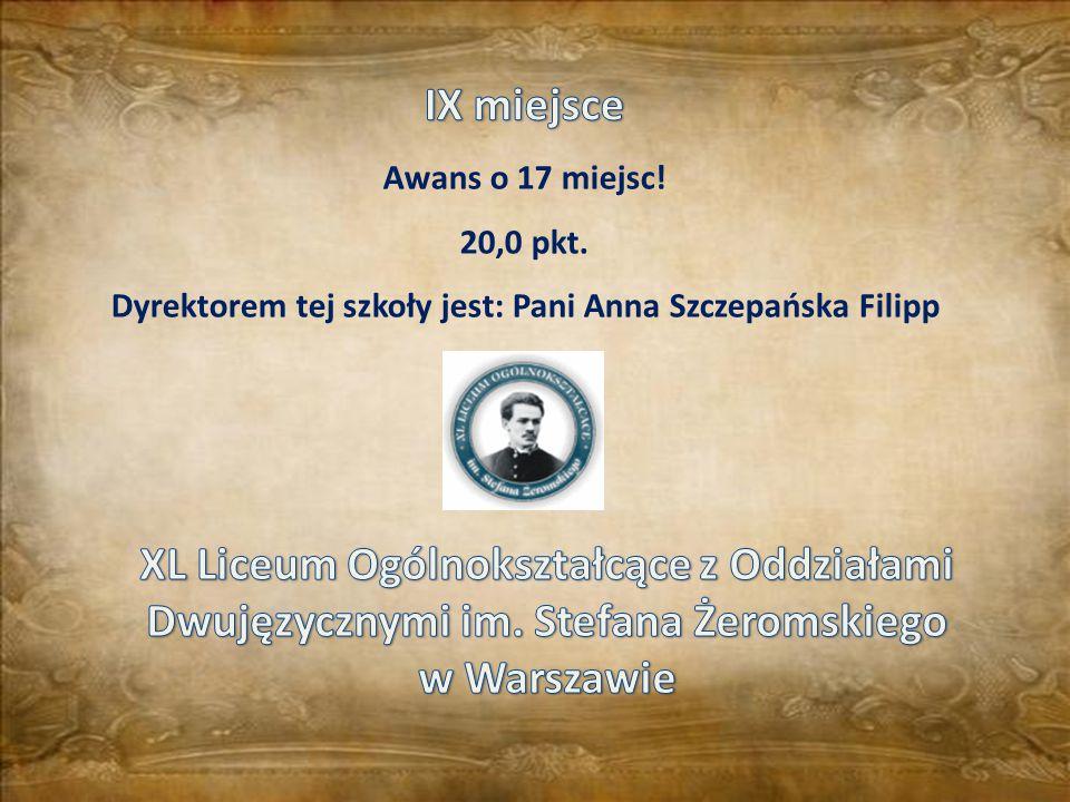 Dyrektorem tej szkoły jest: Pani Anna Szczepańska Filipp