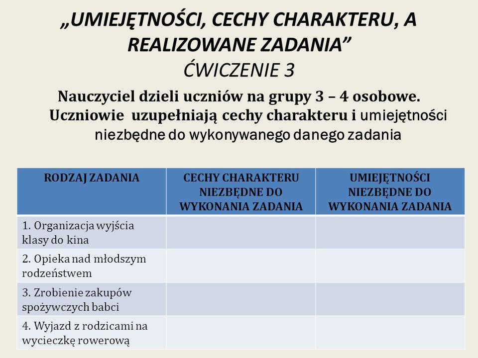 """""""UMIEJĘTNOŚCI, CECHY CHARAKTERU, A REALIZOWANE ZADANIA ĆWICZENIE 3"""