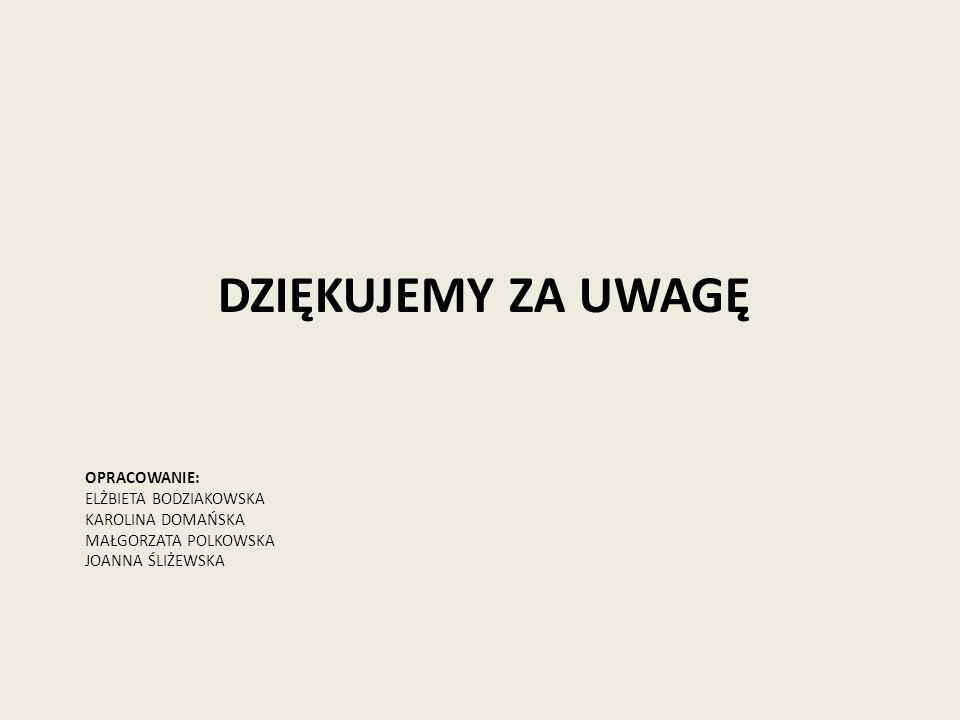 DZIĘKUJEMY ZA UWAGĘ Opracowanie: Elżbieta Bodziakowska Karolina Domańska Małgorzata Polkowska Joanna Śliżewska.