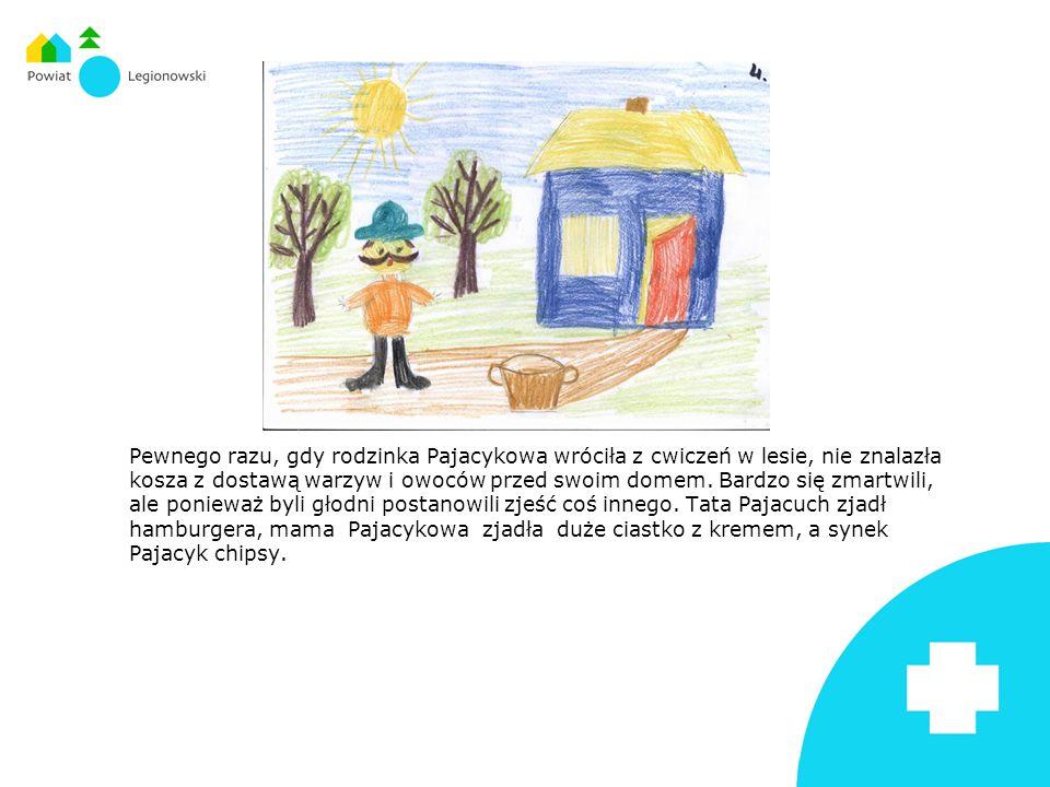 Pewnego razu, gdy rodzinka Pajacykowa wróciła z cwiczeń w lesie, nie znalazła kosza z dostawą warzyw i owoców przed swoim domem.