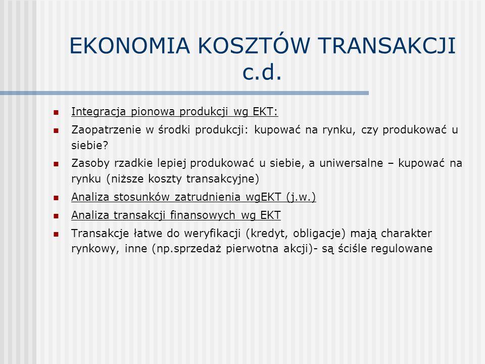 EKONOMIA KOSZTÓW TRANSAKCJI c.d.