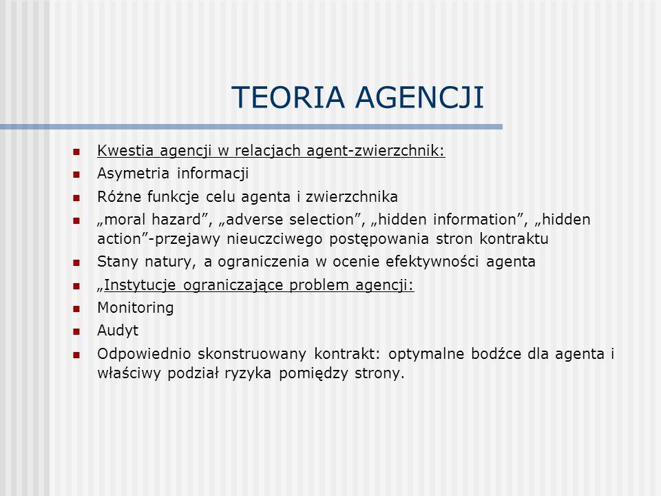TEORIA AGENCJI Kwestia agencji w relacjach agent-zwierzchnik: