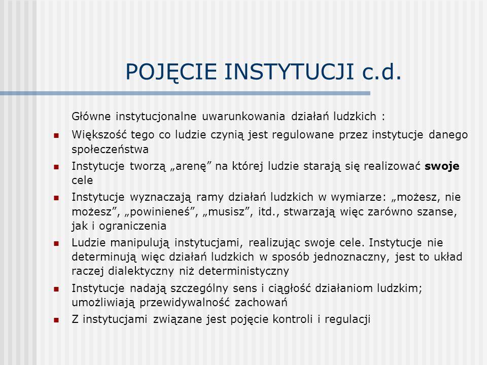 POJĘCIE INSTYTUCJI c.d. Główne instytucjonalne uwarunkowania działań ludzkich :