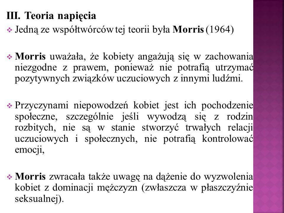 III. Teoria napięcia Jedną ze współtwórców tej teorii była Morris (1964)