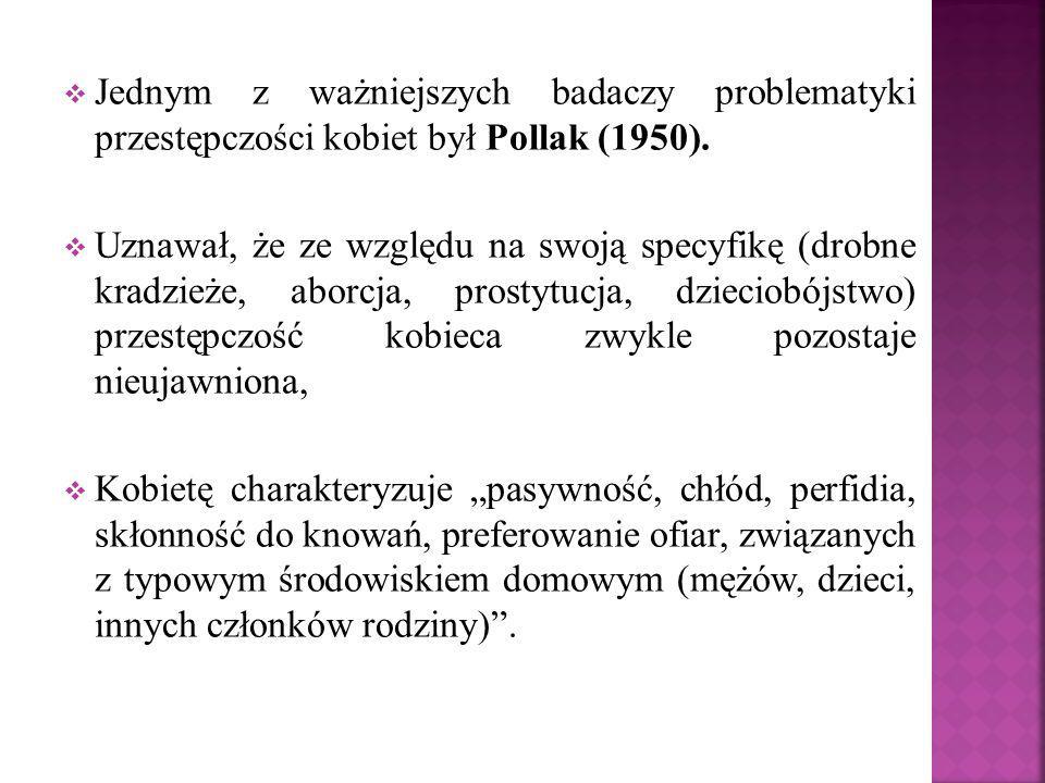 Jednym z ważniejszych badaczy problematyki przestępczości kobiet był Pollak (1950).