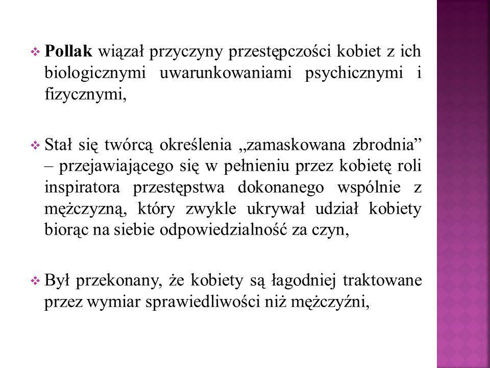 Pollak wiązał przyczyny przestępczości kobiet z ich biologicznymi uwarunkowaniami psychicznymi i fizycznymi,