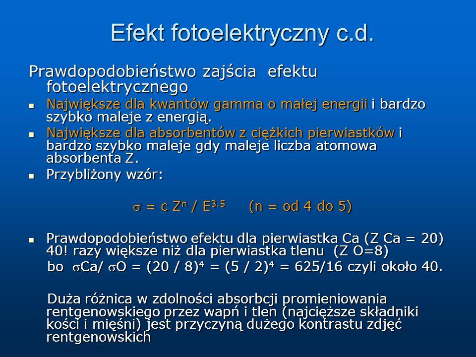Efekt fotoelektryczny c.d.