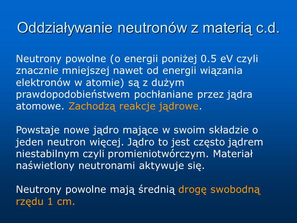 Oddziaływanie neutronów z materią c.d.