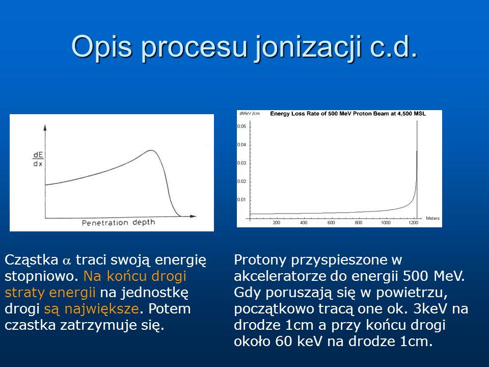 Opis procesu jonizacji c.d.