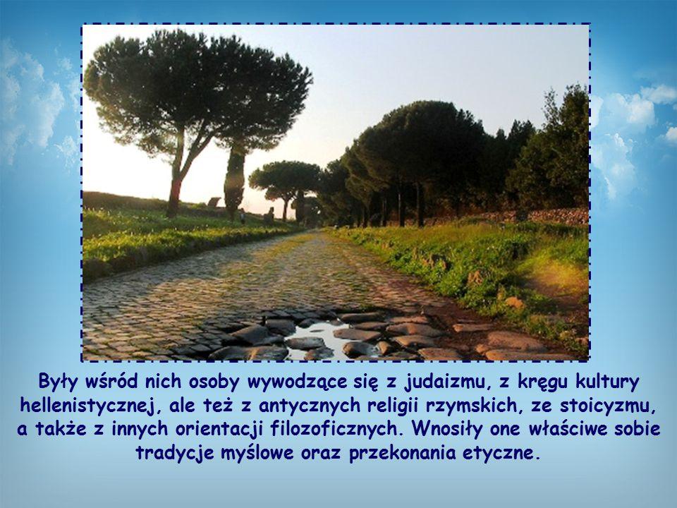 Były wśród nich osoby wywodzące się z judaizmu, z kręgu kultury hellenistycznej, ale też z antycznych religii rzymskich, ze stoicyzmu, a także z innych orientacji filozoficznych.