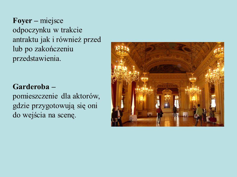 Foyer – miejsce odpoczynku w trakcie antraktu jak i również przed lub po zakończeniu przedstawienia.