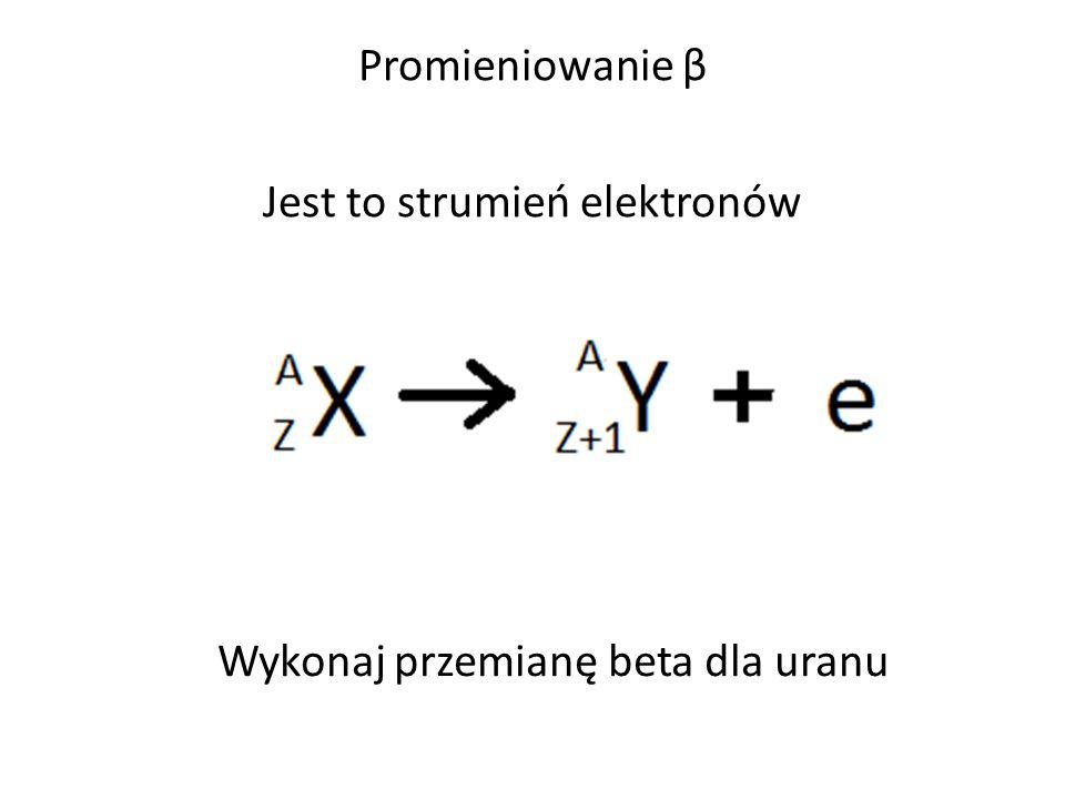 Promieniowanie β Jest to strumień elektronów