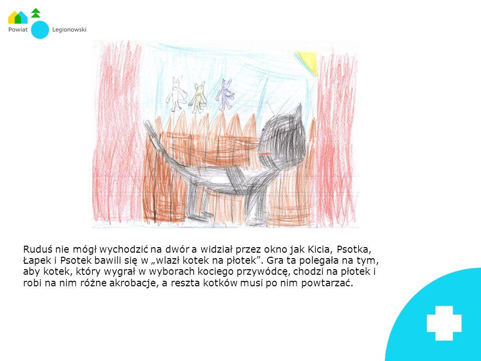 """Ruduś nie mógł wychodzić na dwór a widział przez okno jak Kicia, Psotka, Łapek i Psotek bawili się w """"wlazł kotek na płotek ."""