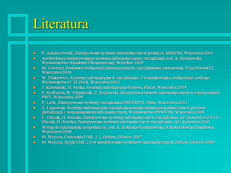 Literatura P. Adamczewski, Zintegrowane systemy informatyczne w praktyce, MIKOM, Warszawa 2003.