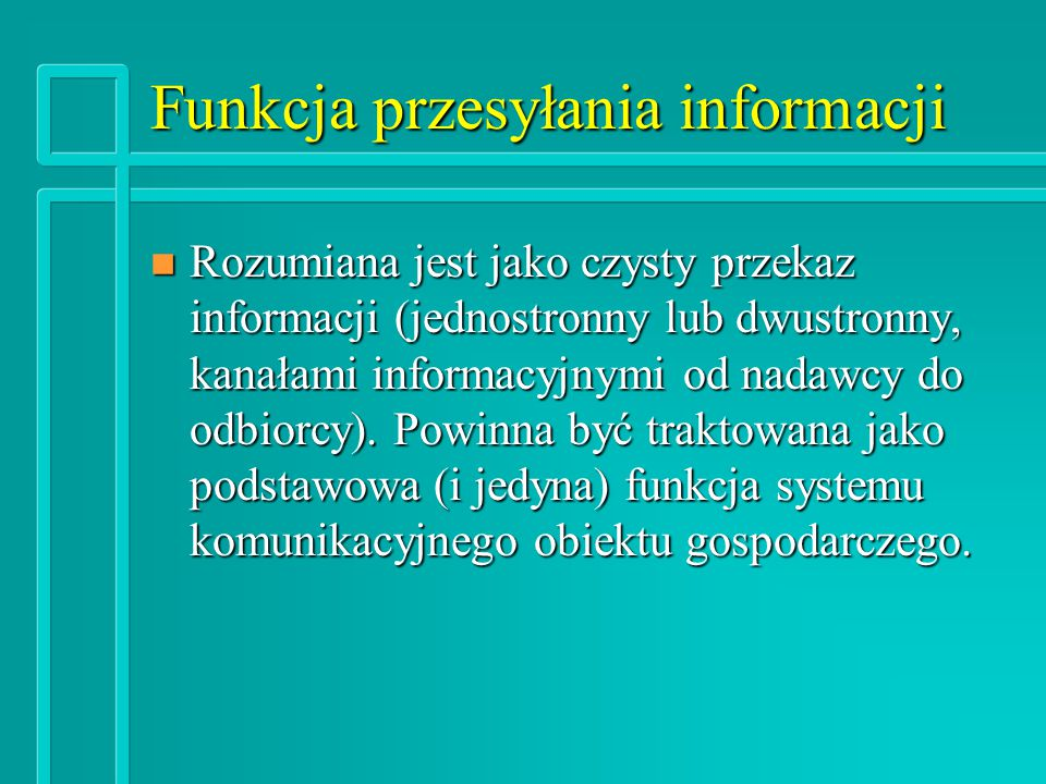 Funkcja przesyłania informacji