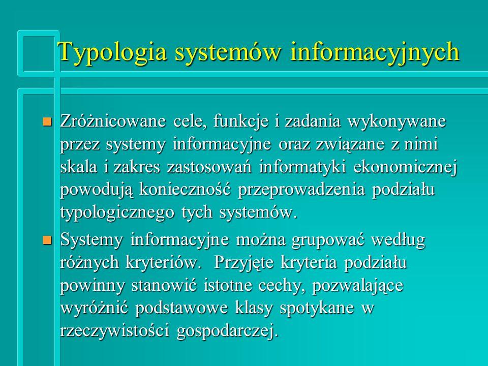 Typologia systemów informacyjnych