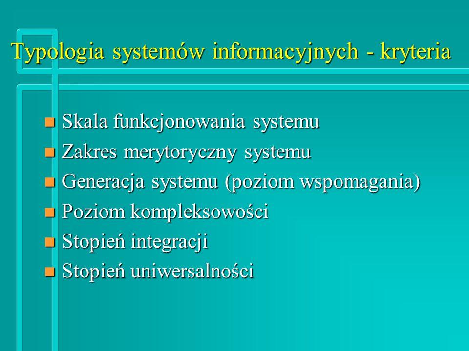 Typologia systemów informacyjnych - kryteria