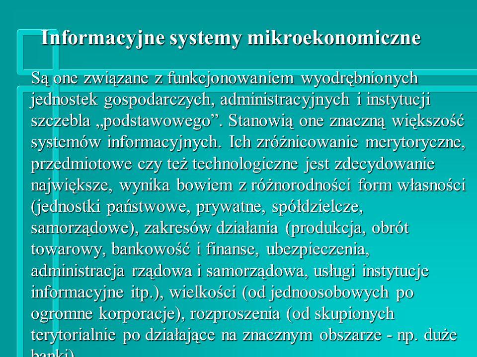 Informacyjne systemy mikroekonomiczne