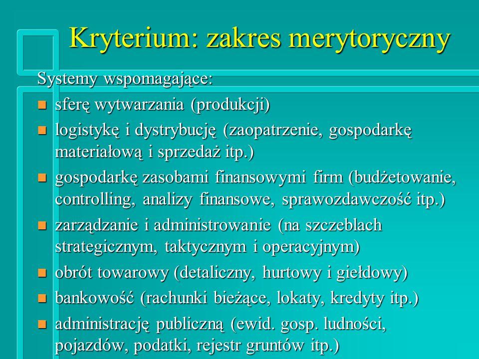 Kryterium: zakres merytoryczny