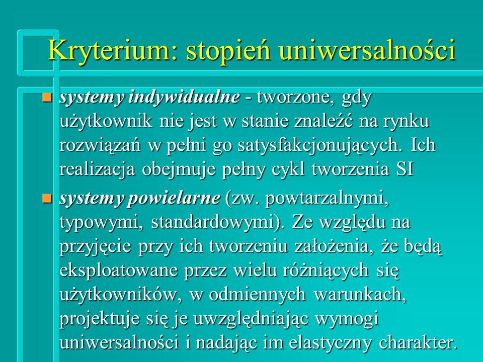 Kryterium: stopień uniwersalności