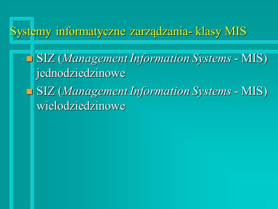 Systemy informatyczne zarządzania- klasy MIS