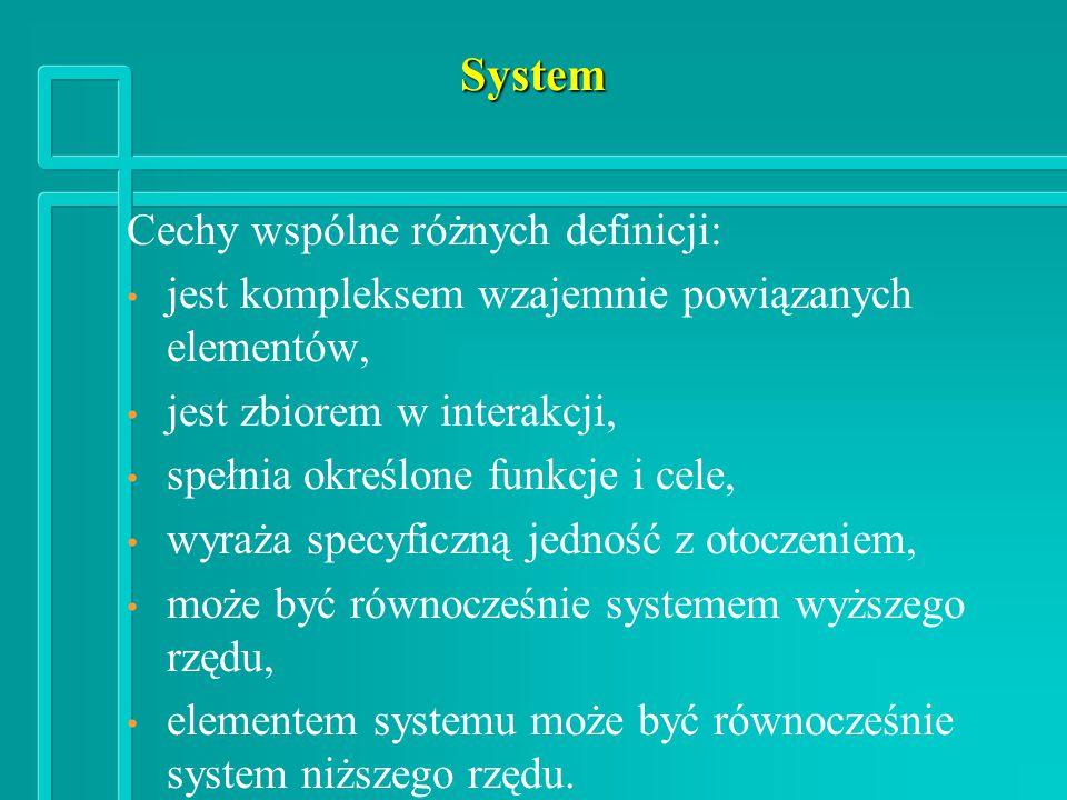System Cechy wspólne różnych definicji: