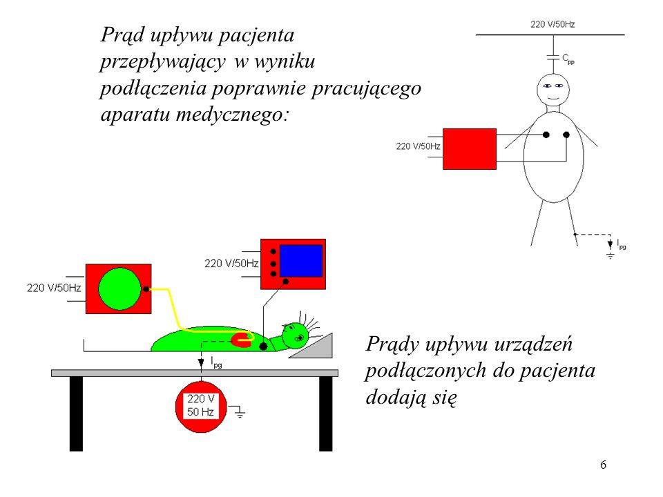 Prąd upływu pacjenta przepływający w wyniku podłączenia poprawnie pracującego aparatu medycznego: