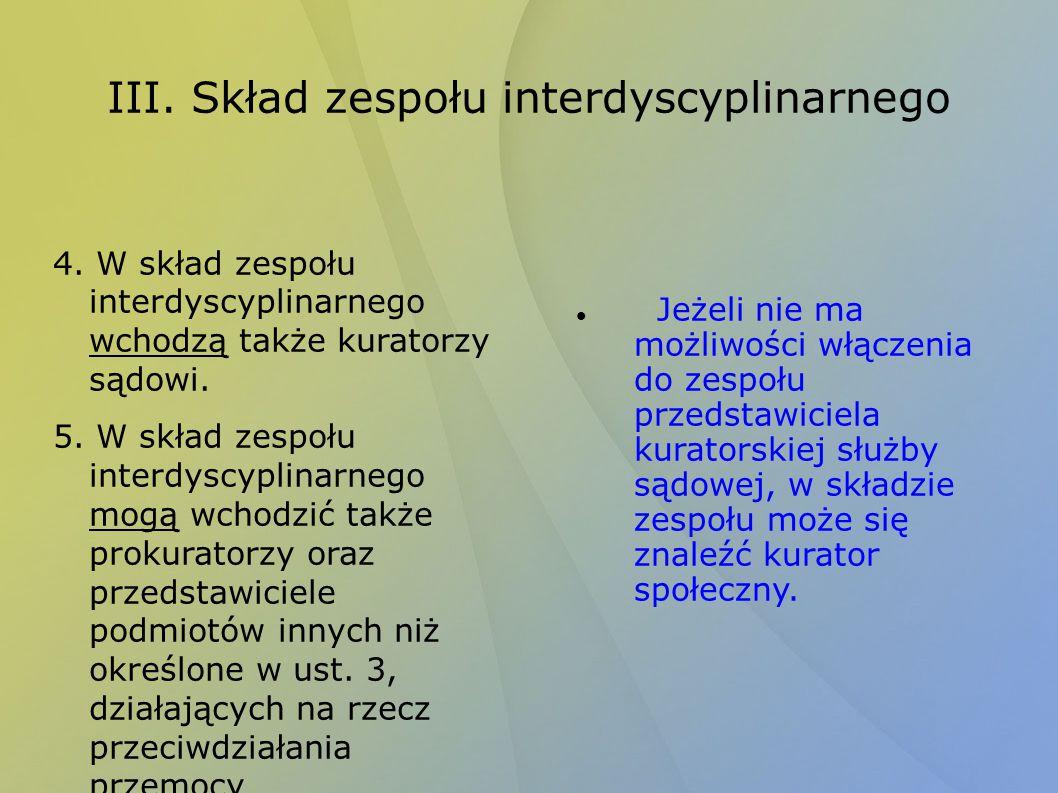 III. Skład zespołu interdyscyplinarnego