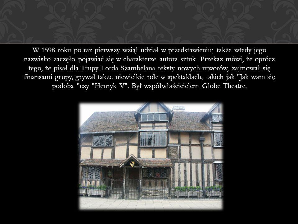 W 1598 roku po raz pierwszy wziął udział w przedstawieniu; także wtedy jego nazwisko zaczęło pojawiać się w charakterze autora sztuk.