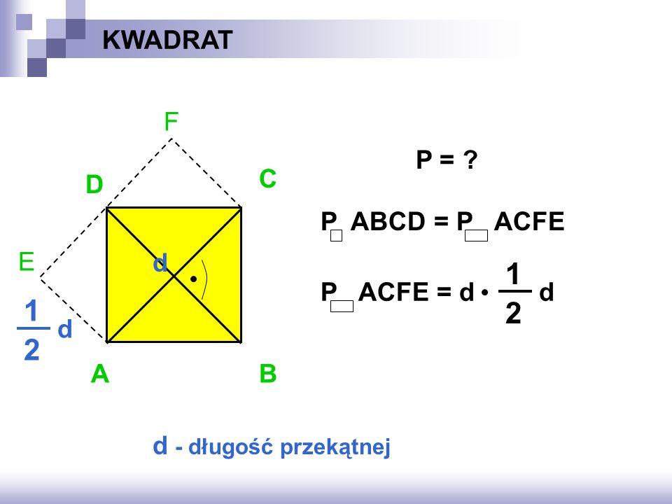 1 1 2 2 KWADRAT F E P = C D P ABCD = P ACFE d P ACFE = d d d A B