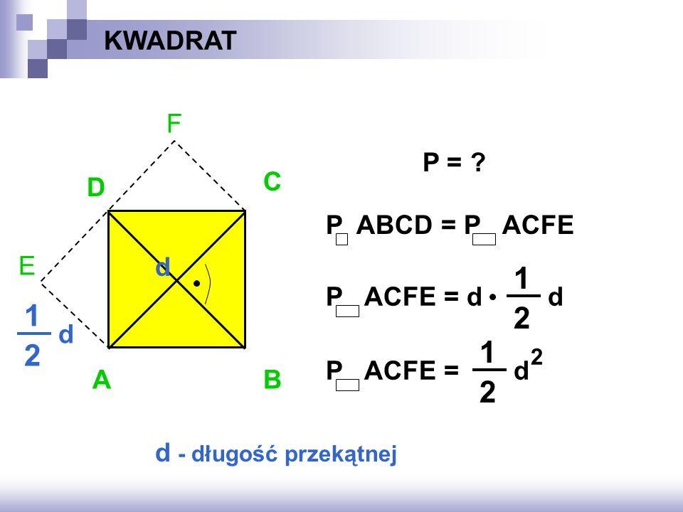 1 1 2 1 2 2 KWADRAT F E P = C D P ABCD = P ACFE d P ACFE = d d d