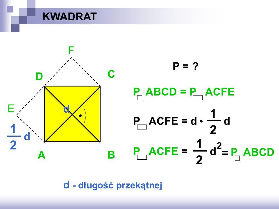 1 1 2 1 2 = 2 KWADRAT F E P = C D P ABCD = P ACFE d P ACFE = d d d