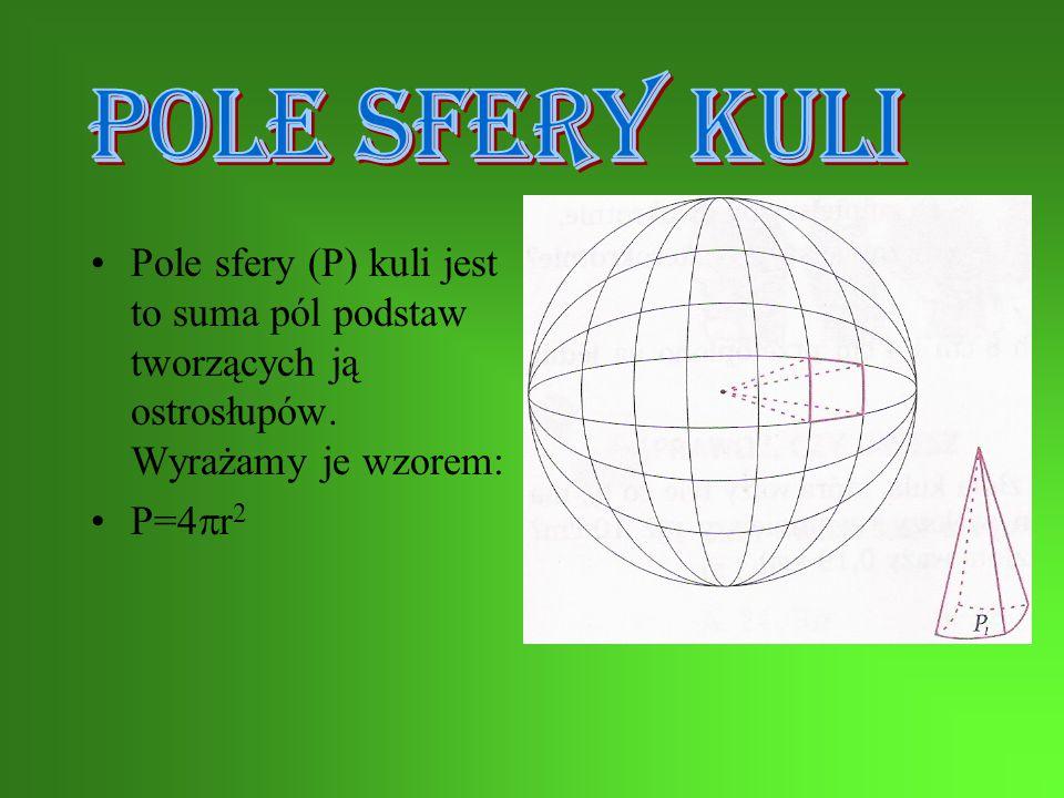 POLE SFERY KULI Pole sfery (P) kuli jest to suma pól podstaw tworzących ją ostrosłupów. Wyrażamy je wzorem: