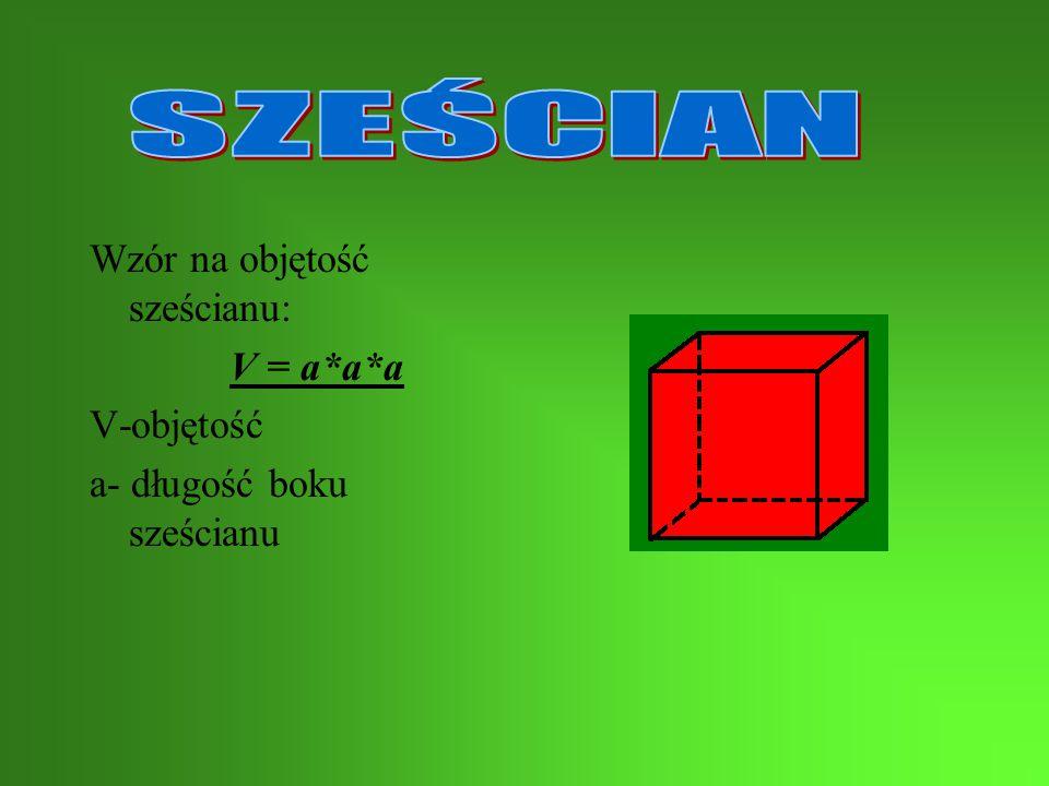 SZEŚCIAN Wzór na objętość sześcianu: V = a*a*a V-objętość