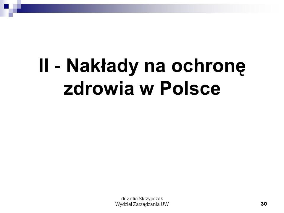 II - Nakłady na ochronę zdrowia w Polsce