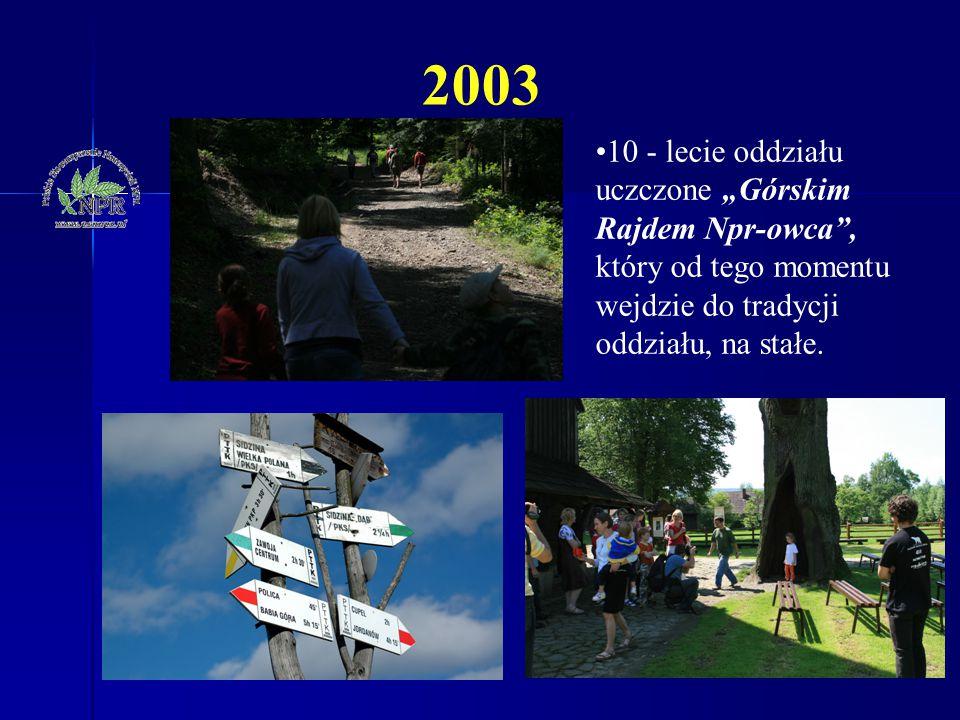"""2003 10 - lecie oddziału uczczone """"Górskim Rajdem Npr-owca , który od tego momentu wejdzie do tradycji oddziału, na stałe."""