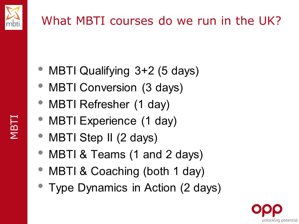 What MBTI courses do we run in the UK