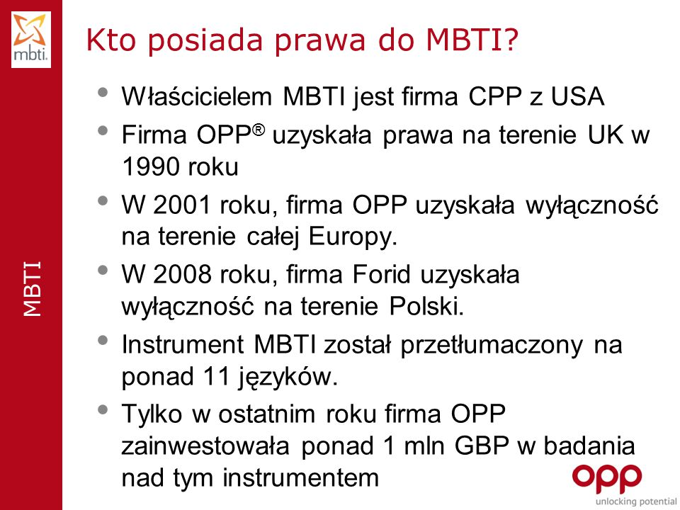 Kto posiada prawa do MBTI