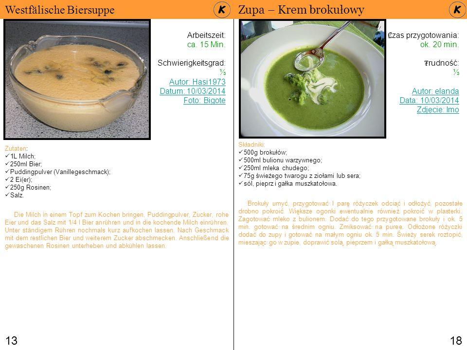 Westfälische Biersuppe Zupa – Krem brokułowy