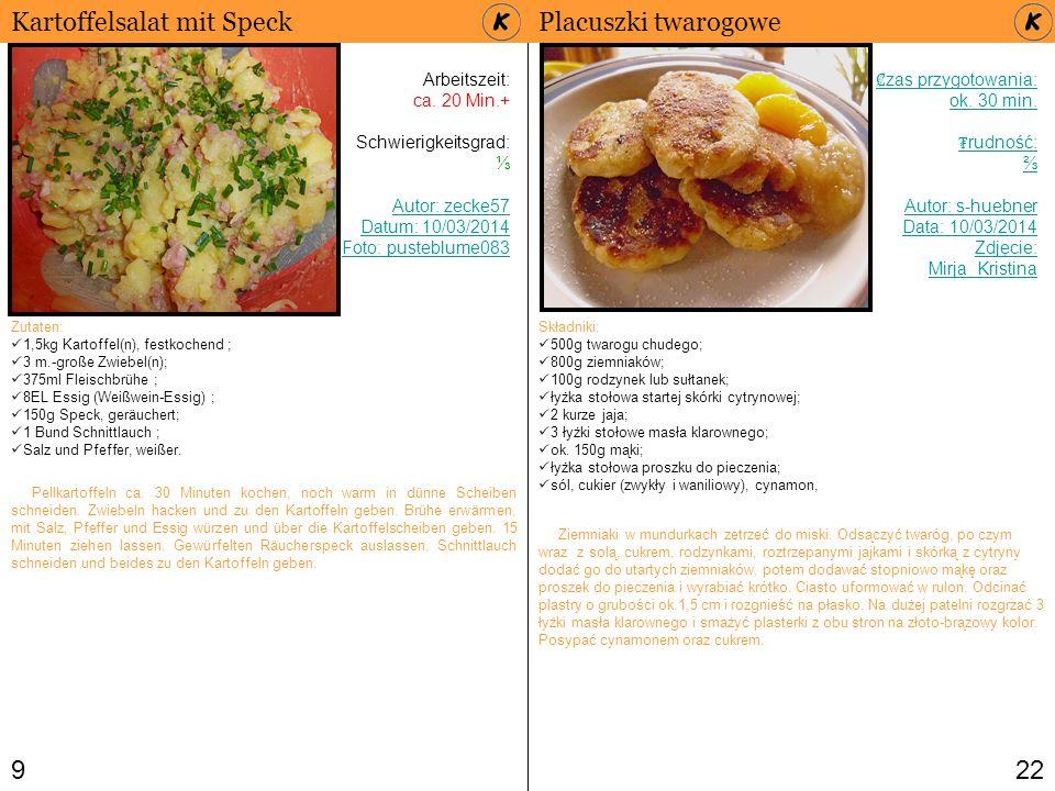 Kartoffelsalat mit Speck Placuszki twarogowe