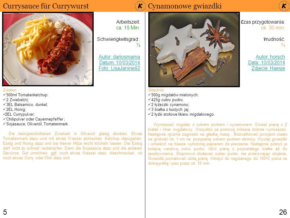 Currysauce für Currywurst Cynamonowe gwiazdki