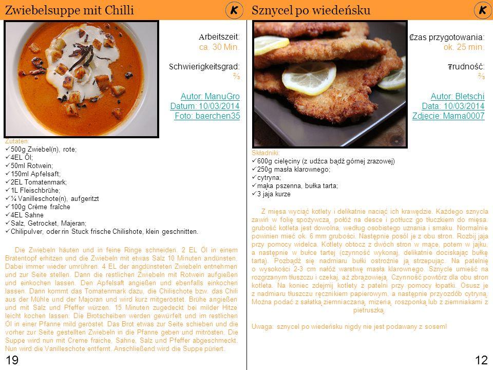 Zwiebelsuppe mit Chilli Sznycel po wiedeńsku
