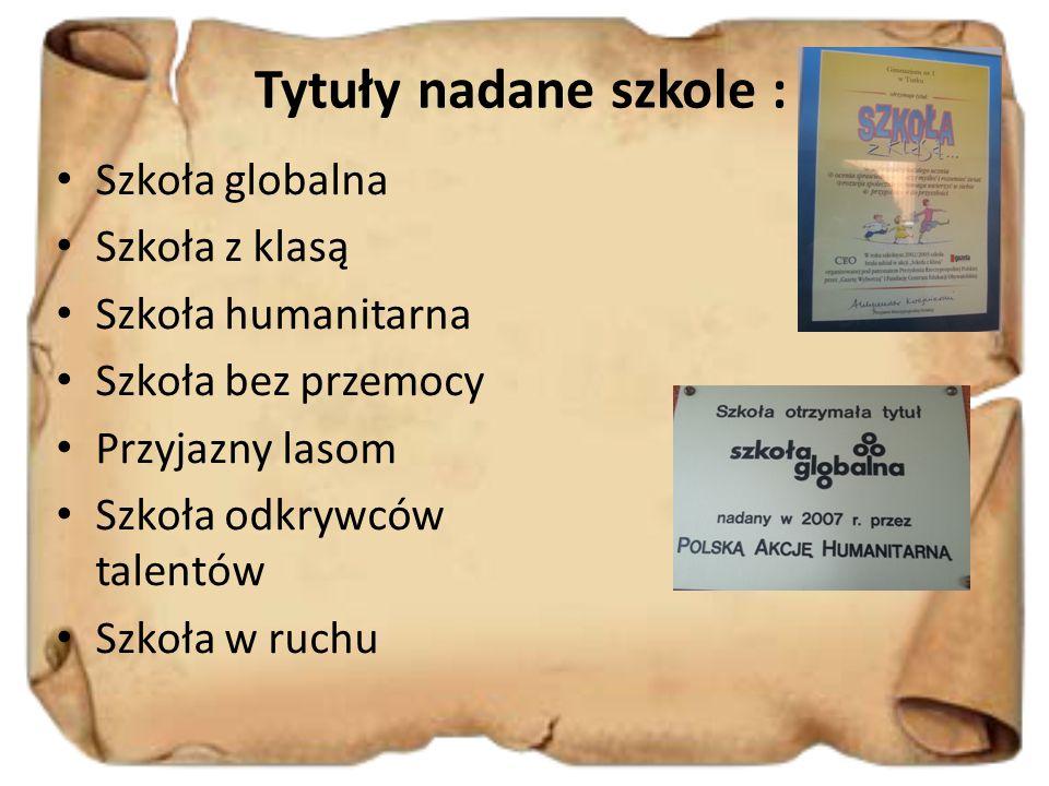 Tytuły nadane szkole : Szkoła globalna Szkoła z klasą