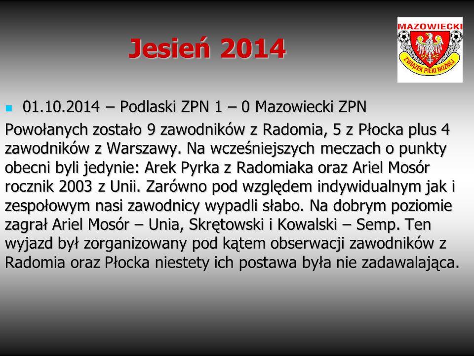 Jesień 2014 01.10.2014 – Podlaski ZPN 1 – 0 Mazowiecki ZPN