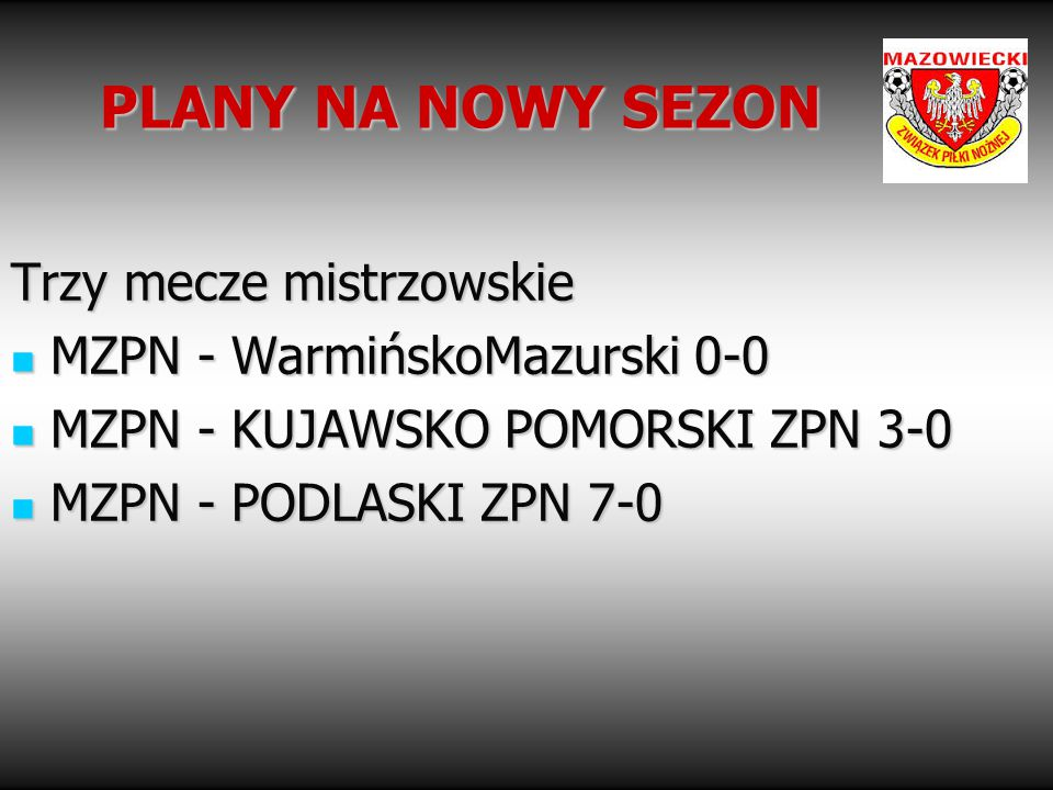 PLANY NA NOWY SEZON Trzy mecze mistrzowskie